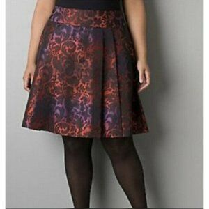 Lane Bryant Pleated A-Line Damask Skirt Size 14
